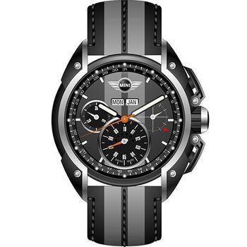 【MINI Swiss Watches】英倫風範運動計時腕錶-灰x黑(MINI-05)