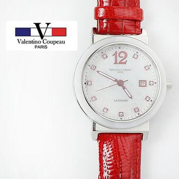 【Valentino范倫鐵諾】晶鑽陶瓷真皮手腕錶(紅色)