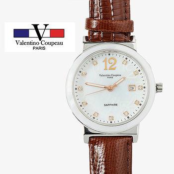 【Valentino范倫鐵諾】晶鑽陶瓷真皮手腕錶(棕色)