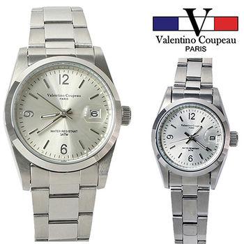 【Valentino范倫鐵諾】不鏽鋼簡約時尚手腕錶(銀色-男女可選)
