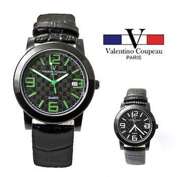 【Valentino范倫鐵諾】格紋數字皮革手腕錶