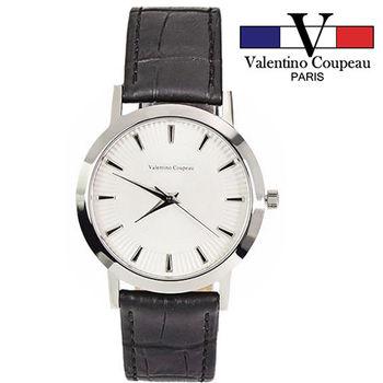 【Valentino范倫鐵諾】獨特立體簡約皮革手錶(黑色)
