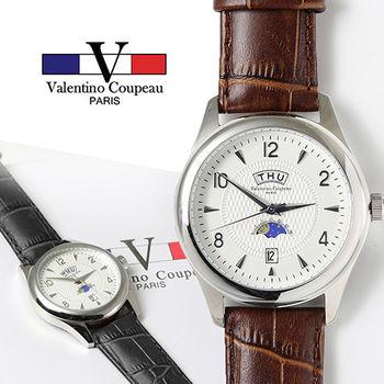 【Valentino范倫鐵諾】不鏽鋼日夜星期皮革手錶