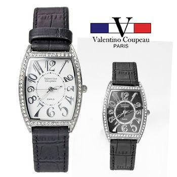 【Valentino范倫鐵諾】經典鑲鑽酒桶型皮革手腕錶