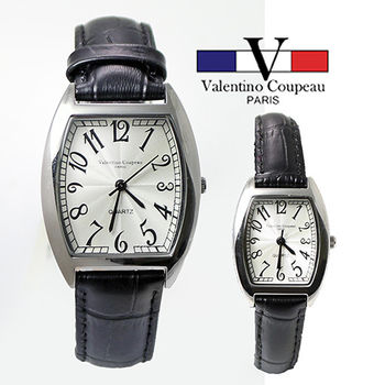 【Valentino范倫鐵諾】時尚酒桶型皮革手腕錶(黑色-男女可選)