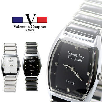 【Valentino范倫鐵諾】陶瓷點鑽酒桶型手腕錶