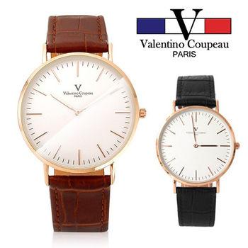 【Valentino范倫鐵諾】極簡玫瑰金刻度真皮手錶腕錶