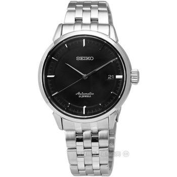 SEIKO 精工★贈皮錶帶 / Presage 6R15-02Y0D.SARX023J 經典紳士不鏽鋼日期機械手錶 黑 39mm