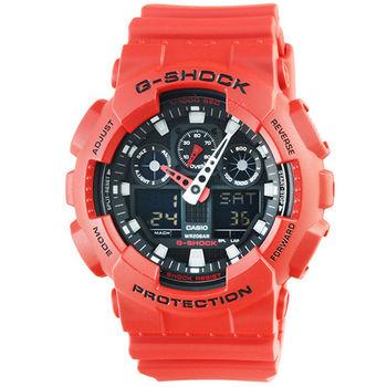 CASIO 卡西歐G-SHOCK 雙顯鬧鈴電子錶-紅 / GA-100B-4A