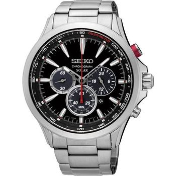 SEIKO SOLAR 太陽能奔馳計時腕錶-黑/44mm V175-0DM0D(SSC493P1)