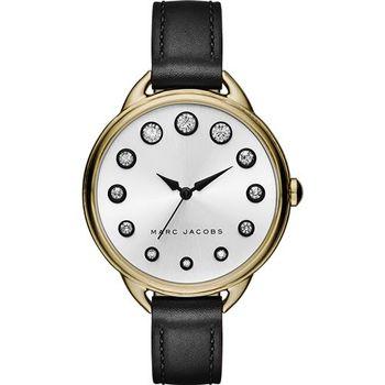 Marc Jacobs Betty 摩登晶鑽腕錶-淡金框x黑/35mm MJ1479
