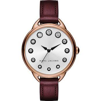Marc Jacobs Betty 摩登晶鑽腕錶-玫瑰金框x酒紅/35mm MJ1478