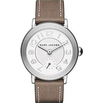 Marc Jacobs Riley 城市小秒針腕錶-銀x棕色/37mm MJ1468