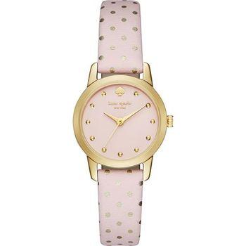 Kate Spade Metro 迷你點點時尚腕錶-粉紅x金框/25mm 1YRU0919