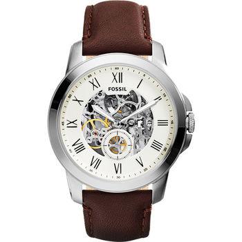 FOSSIL AUTOMATIC系列 領導風範都會時尚機械錶-銀x咖啡/44mm ME3052