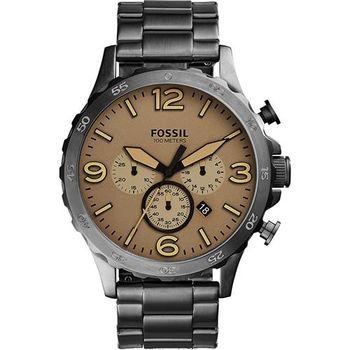 FOSSIL Nate 世紀戰神三眼計時腕錶-卡其X灰/50mm JR1523