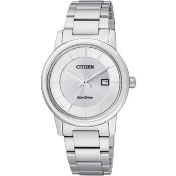 CITIZEN 經典簡約光動能女錶-銀白/30mm EW1560-57A