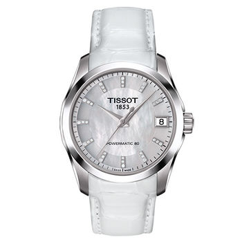 TISSOT 天梭 LADIES 建構師系列 女用珍珠貝面皮帶腕錶/32mm/T0352071611600