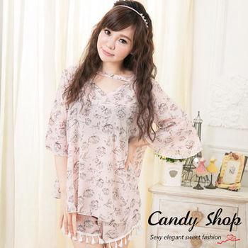 Candy小舖 喇叭袖雪紡 氣質修身款 兩件式套裝 ( 黑 / 粉 ) 2色選