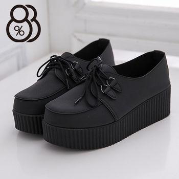 【88%】個性厚底休閒鞋 前高後高綁帶款 優質皮革質感休閒鞋 2色