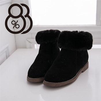 【88%】外絨毛素面麂皮質感 絨毛領平底短靴 造型雪靴(2色)