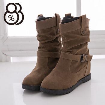【88%】麂皮金屬扣環 5CM內增高短筒靴 時尚韓版經典百搭抓皺 機車靴 工程靴 3色
