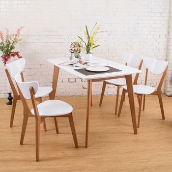 Bernice-艾莉森白色餐桌椅組(一桌四椅)