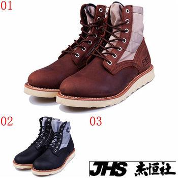 (預購)pathfinder款40160春季男士潮流馬丁靴 PF帆布牛皮拼接戶外大頭工裝靴(JHS杰恆社)