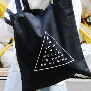 【SEIO】帆布包 禮物 歐美經典SEIO 黑色設計環保帆布包 簡約黑色 三角形 交換禮物 手拿 肩背包
