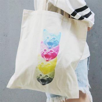 【SEIO】帆布包 禮物 文青SEIO 自定設計環保帆布包 可愛貓咪 四色貓頭 聖誕節交換禮物 手拿 肩背包