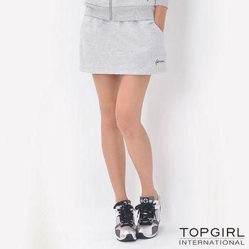 【TOP GIRL】簡約休閒褲裙 (淺麻灰)