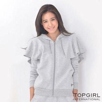 【TOP GIRL】雙肩小斗篷造型連帽外套 (淺麻灰)