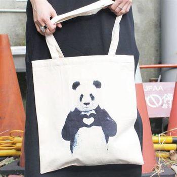 【SEIO】帆布包 環保包 歐美經典 SEIO 自定款環保帆布包 保護動物系列 熊貓愛你 手拿肩背包