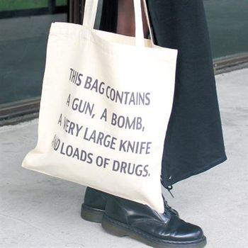 【SEIO】帆布包 環保包 經典歐美 SEIO 自定款設計環保帆布包 黑色幽默 我的包包裡有炸彈 手拿肩背包