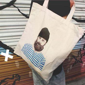 【SEIO】帆布包 環保包 歐美獨創 自定款設計環保帆布包 毛帽帥氣大叔 百搭 帥哥 手拿肩背包