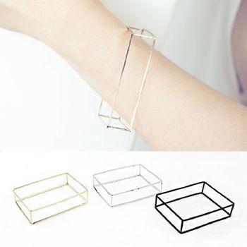 ArFFi 艾菲 歐美解構立體長方框框手環-淺金/ 亮銀/ 霧黑