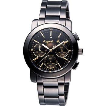 agnes b.魔幻酷勁三眼計時腕錶-黑x金/38mm V654-0AE0G(BWY063P)