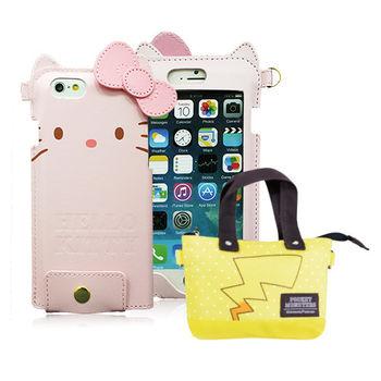 《超值組合》Hello Kitty iPhone 6/6s 手機皮套 + POKEMON 手機觸控萬用包