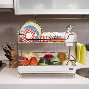 【韓國原裝進口STAFIX】不銹鋼雙層碗盤置物架