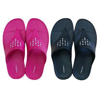【MONZU】零著感EVA鑲鑽厚底室外夾腳拖鞋(MIT 桃色、黑色)