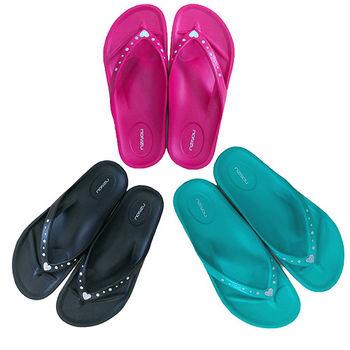 【MONZU】零著感EVA鑲鑽輕盈室外人字拖鞋(桃色、黑色、綠色)