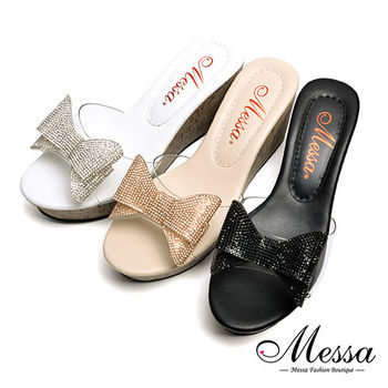 【Messa米莎專櫃女鞋】MIT閃亮蝴蝶結厚底涼拖鞋-三色