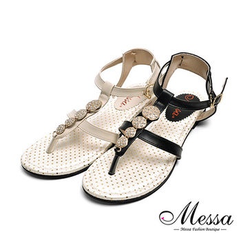 【Messa米莎專櫃女鞋】MIT金屬水鑽一字繫踝平底涼鞋-兩色