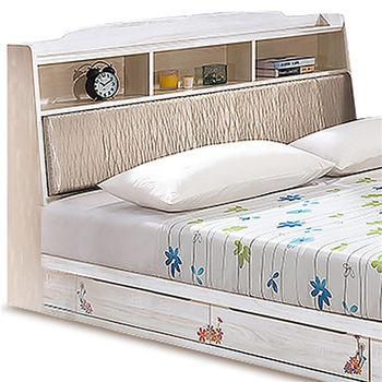 【MY傢俬】歐風彩繪栓木收納5尺雙人床組(不含床墊)