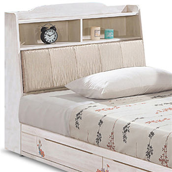 【MY傢俬】歐風彩繪栓木收納3.5尺單人床組(不含床墊)