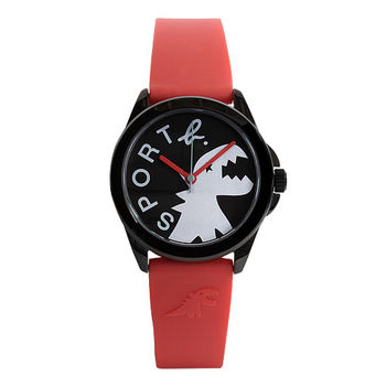 agnes b.SPORT b.系列恐龍面橡膠手錶(紅/灰)