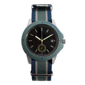 agnes b.SPORT b.系列藍灰綠帆布錶帶手錶