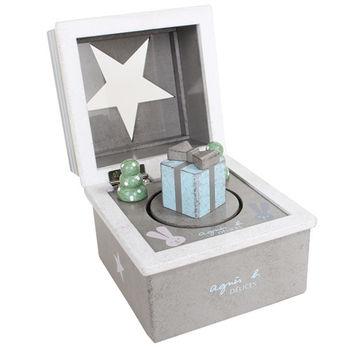 agnes b. 星星翻蓋禮物音樂盒(灰綠)