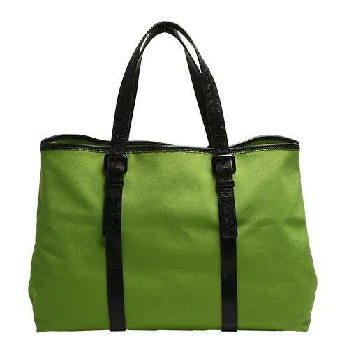 BOTTEGA VENETA 經典小羊皮編織提把帆布手提/肩背購物包(綠_展示品)