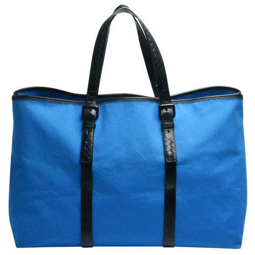 BOTTEGA VENETA 經典小羊皮編織提把帆布手提/肩背購物包(藍_展示品)